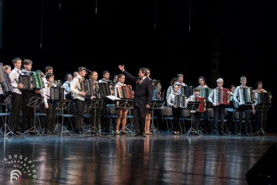 Ю.Е.Гуревич и сводный оркестр баянистов и аккордеонистов